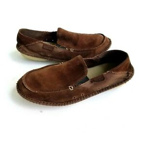 CROCS Crocadise Men Fit 11.5 Loafers Brown Suede Leather Slip On Shoe 11392 RARE