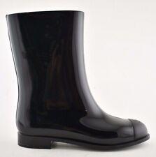 Chanel 19C Black CC Logo PVC Rubber Winter Snow Short Mid Calf Rain Boots 38