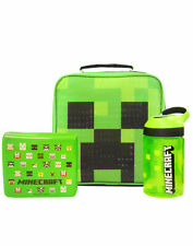 Minecraft Creeper Face Green Lunch Bag Set (Lunch Bag, Water Bottle, Snack Pot)