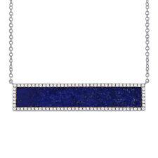 3.22 CT Diamond and Lapis Lazuli 14K White Gold Rectangle Bar Pendant Necklace