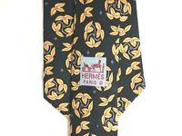 "Hermes Mens Necktie Tie Black Yellow Floral Geometric 7281 MA 100% Silk 59"""