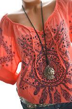 Damen Bluse Folklore Tunika FEDERN Oversize Hemd 40 42 44 KORALLE Neu Italien