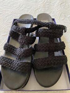 Stuart Weitzman Black Woven High Platform Sandals Sz 42