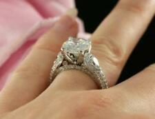 Certified 3Ct Round and Pear White Diamond Engagement Ring in 14K White Gold