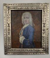 Profil gentilhomme miniature portrait EPOQUE DIRECTOIRE Fin XVIIIe Cadre Argent