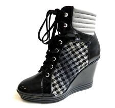HOGAN REBEL Black patterned Leather Wedge trainers Boots Shoes Size 37 UK 4-4,5
