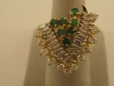 FANCY DIAMOND AND EMERALD VINTAGE RING 14 KARAT WHITE AND YELLOW GOLD