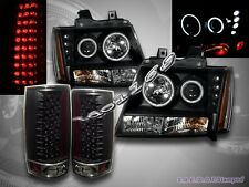 07-12 CHEVY TAHOE SUBURBAN CCFL LED PROJECTOR HEADLIGHTS BLK+LED TAIL LIGHTS BLK