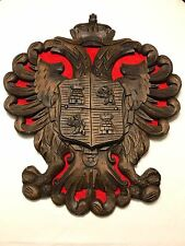 BLACK FOREST CARVED WOOD ARMORIAL DOUBLE HEAD EAGLE COAT OF ARMS HERALDIC SHEILD