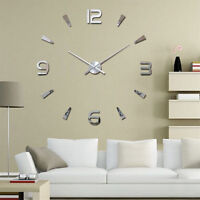 3D DIY Wall Clock Home Modern Decoration Crystal Mirror Stickers Living Room TK