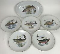 Vintage Neiman Marcus West Germany 5 Fish Dinner Plates And 1 Serving Platter