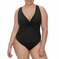Bleu Rod Beattie BLACK Plus Size Twist & Shout Plunge One Piece Swimsuit, US 20W