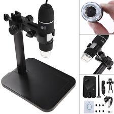 800X 8 LED 2MP USB Digital Microscope Endoscope Video Magnifier Camera+Stand Set