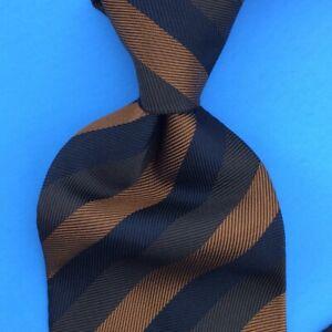 Brioni Tie Made In Italy Brown Black Stripes Woven Necktie Silk Ties Mens
