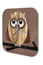 Fun Wall Clock Vintage Decoration Owl Branch wood printed acryl plexiglass 10x10