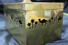 Vintage Brass Trinket Box with Pyramid Handle, Camel & Palm Tree Cut Outs
