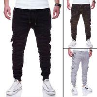 Men Casual Joggers Pants Sweatpants Cargo Combat Active Sports Slim-Fit Trousers