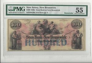 Colorful State Bank of New Brunswick1850s $100 PMG About Uncirculated 55