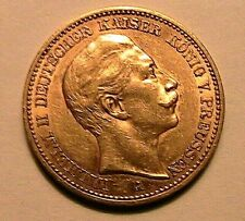 1889-A Prussia German Empire State 20 Marks Ch AU Lustrous Wilhelm II Gold Coin