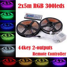 10M 5050 RGB SMD 600 LED Waterproof 12V Light Strip 44Key IR Remote Power Supply