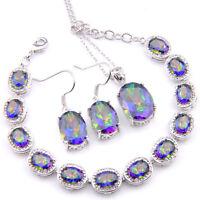 Gorgeous Oval 3 Pcs Rainbow Fire Topaz Gemstone Silver Bracelet Pendant Earrings