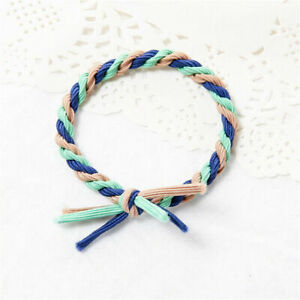 Girls Multicolor Elastic Hair Ring Hair Woven Rubber Band Ponytail Tie Headwear