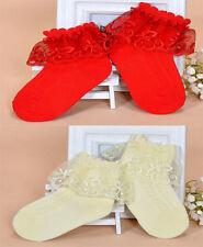 niña ENCAJE CON VOLANTES Bautizo Calcetines en Blanco Rosa Azul Amarillo