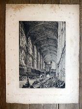 Charles Henri Toussaint EAU-FORTE Cathédrale de Cambridge