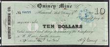 1870 US Bank Check, Quincy Mine, Hancock, MI - $10 Dollars - Paid*