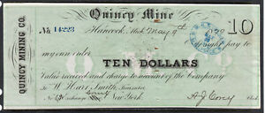 1870 US Bank Check, Quincy Mine, Hancock, MI - $10 Dollars - Paid*