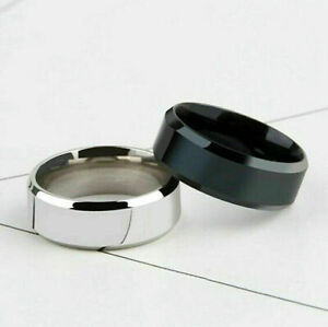 Women Men 6MM/8MM Stainless Steel Rings Band Titanium Jewelry Size 5-12