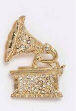 Gold Tone Brooch Old Time Rhinestone Phonograph