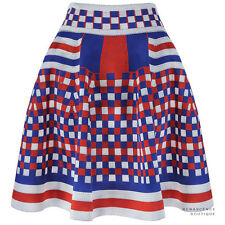 Alexander McQueen Blue Red White Check Knit Flared Circular Skater Skirt M UK10