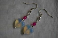 Unique handmade opalite hearts & pink crystal silver plated earrings + stoppers