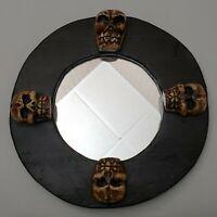 Vintage Wood Carved Skull Mirror Wall Plaque 4 Skulls Scary Horror Halloween