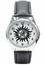 Supernatural TV Series Anti Possession Logo Genuine Leather Band WRIST Watch