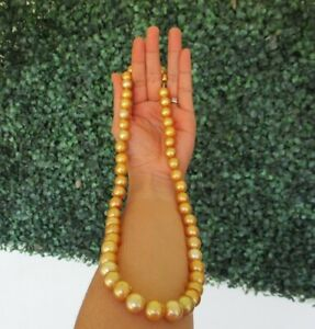 SALE‼️10.8mm-13.3mm South Sea Pearl Necklace 14k Yellow Gold N104 sep