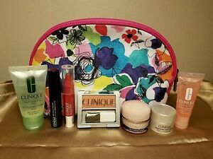 Clinique 8 PC Set Mascara Blush Chubby Stick Moisture Surge Repairwear Soap Bag