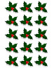 15 X HOLLY & BERRY LEAVES - CHRISTMAS - EDIBLE CUPCAKE CAKE TOPPERS D4