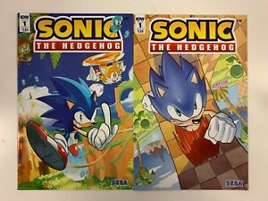 IDW SONIC THE HEDGEHOG #1 : 2 COVERS BUNDLE : A + B : NM CONDITION