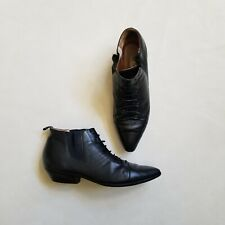 Vintage Cougar Black Leather Slip On Ankle Boots - Size 7 Made In Brazil