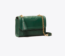 Authentic TORY BURCH FLEMING SMALL CONVERTIBLE SHOULDER BAG NORWOOD GREEN