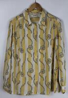 MARIA BELLESI Damen Vintage Bluse, gelb weiß gestreift, Größe 44