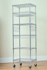 "6 Tier Multipurpose Steel Wire Storage Rack-Chrome-18""x24""x75"" with Bonus Liners"