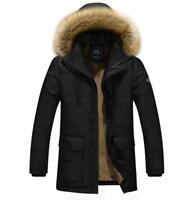 Men's Fur Collar Hooded Jacket Slim Fit Thicken Cotton Coast Winter Warm Slim Sz