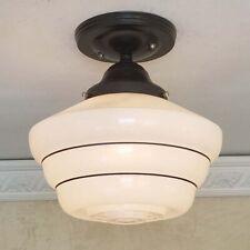 839b Vintage antique arT Deco Glass Shade Ceiling Light Fixture