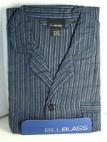 BILL BLASS Cotton Flannel PJs PAJAMAS Set Blue Stripe Mens size Large NWT  NEW