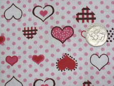 """PINK HEARTS LOVE POLKA DOTS SWEET GIRLS SEWING CRAFT 45"""" FLANNEL FABRIC BTHY#"""