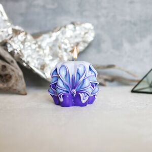 """Handcrafted Candles Purple Blue Wh 2,5"""" Eco Friendly Unscented Table Decoration"""