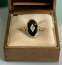 7.5 Black Onyx, Diamond Ring, New ListingVintage 10k Yellow Gold Size